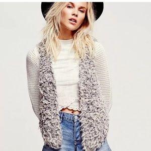 Free People Gray Ivory Fur Away Fuzzy Vest XS